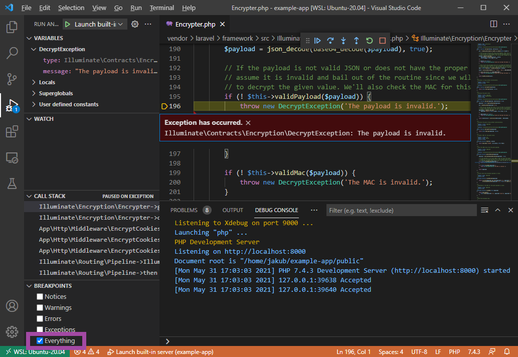 vscode exception