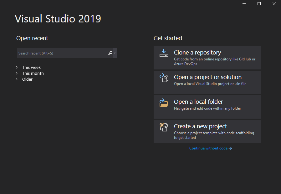 Initial Visual Studio dialog