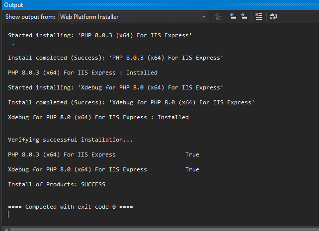 Output during PHP installation