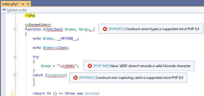 php 8.0 syntax compatibility check