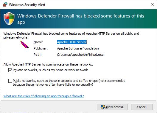 Firewall prompt