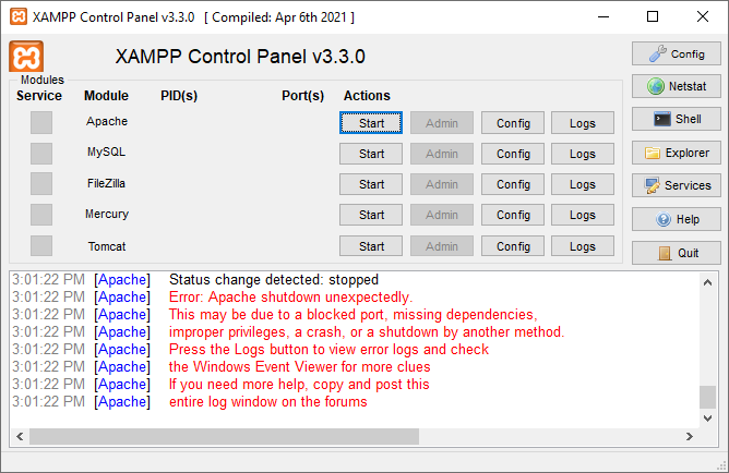 Apache didn't start - port 80 was occpued