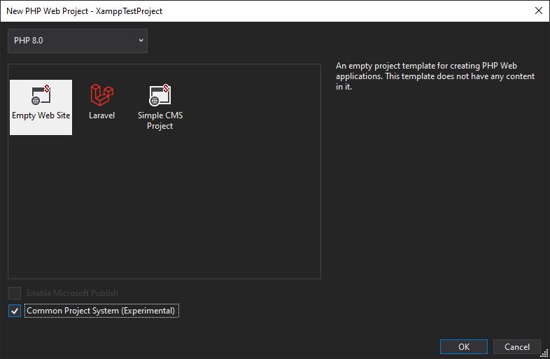 Visual Studio 2019 New PHP Web Project