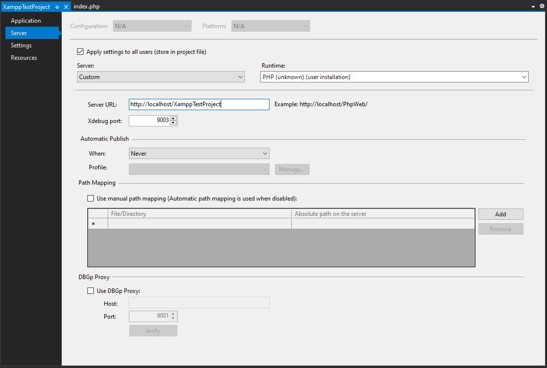 Project Properties Server tab