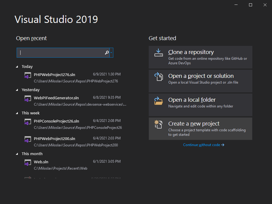 Visual Studio 2019 Initial Dialog