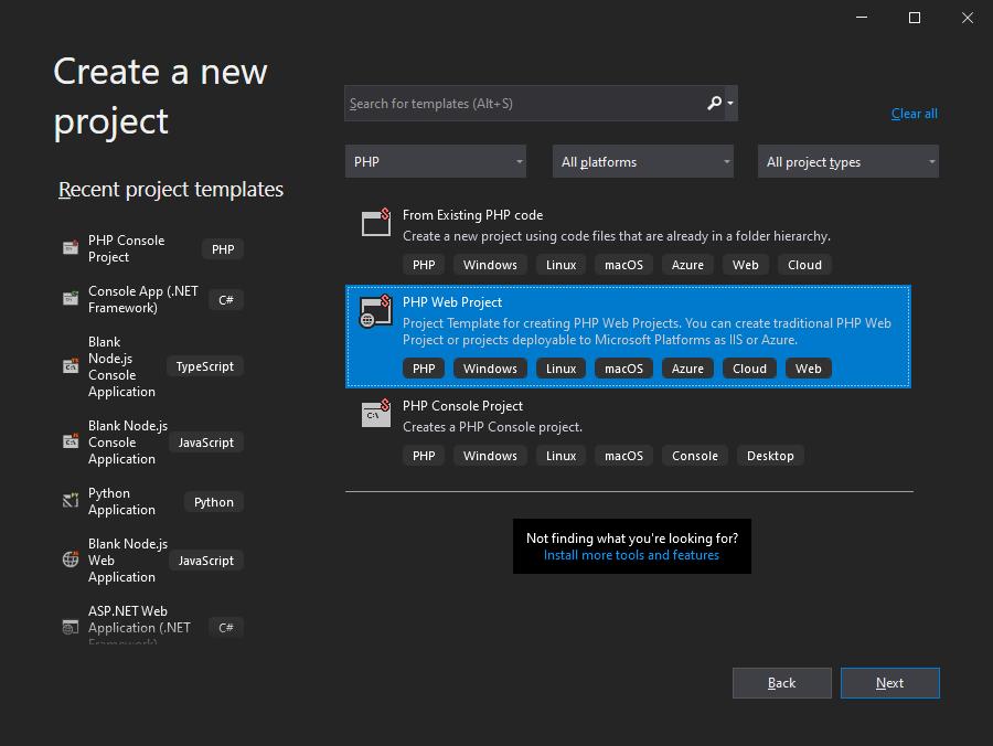 Visual Studio 2019 Create New Project