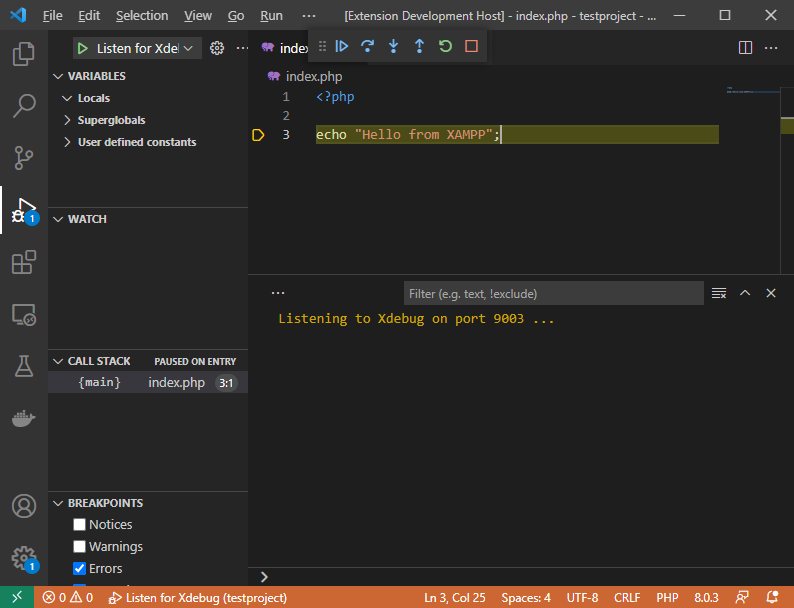 Visual Studio Code PHP debugger broken on the first statement
