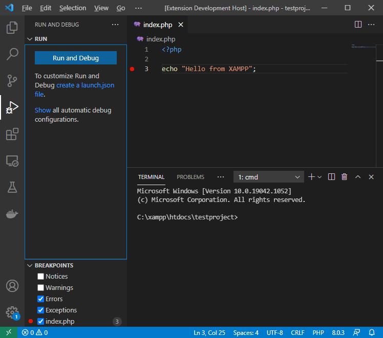 Visual Studio Code screen