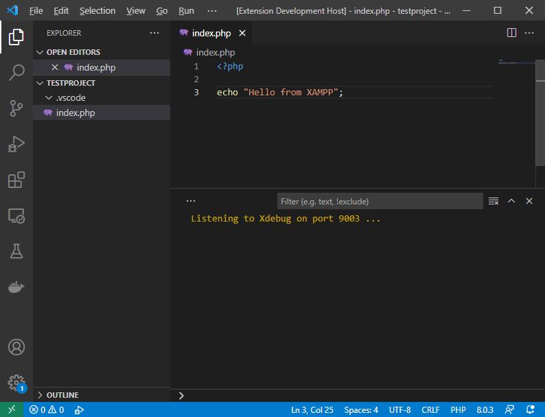 Folder opened in Visual Studio Code