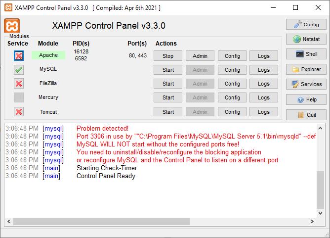 XAMPP running under admin
