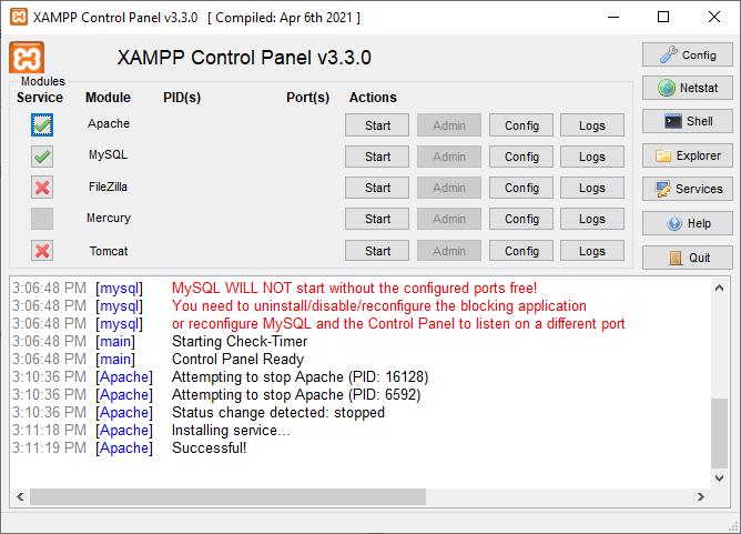 Apache is running as Windows Service