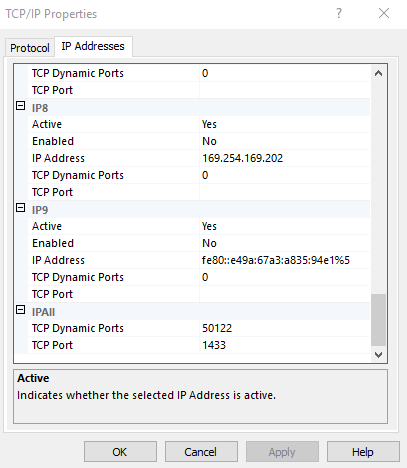 SQL Enable IP
