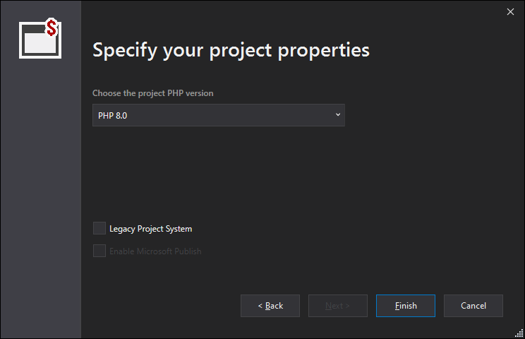 new PHP project Properties
