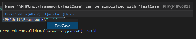 php quick fixes in vs code